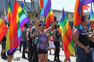 Several gay rights supporters waved rainbow-colored flags at the L.A. Pride Parade on Santa Monica Boulevard on Sunday, June 13, 2010.