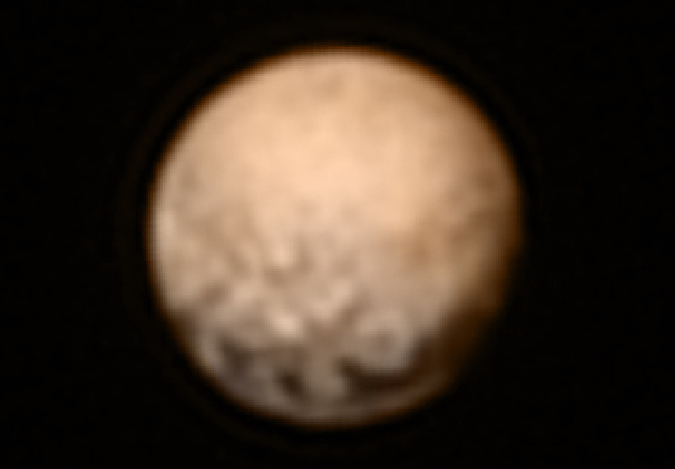 Prior to a system glitch on July 4th, New Horizons collected this high resolution image of the dwarf planet Pluto.