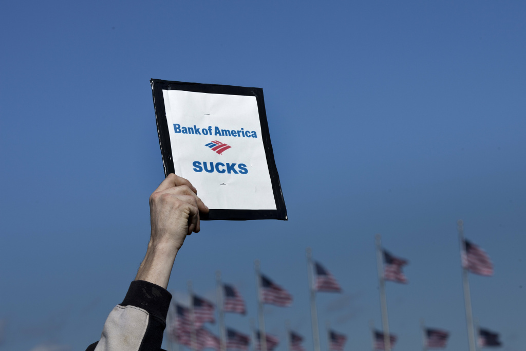 A person holds a sign critical of Bank of America during a rally on the National Mall October 15, 2011 in Washington, DC.