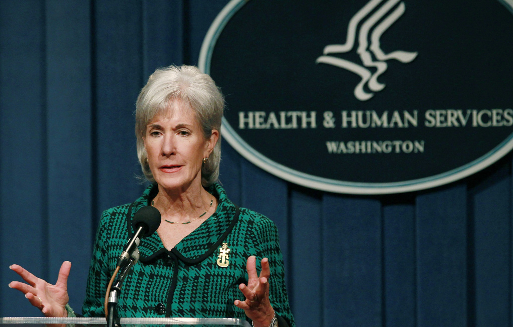 File photo: Health and Human Services (HHS) Secretary Kathleen Sebelius speaks during a news conference, on November 14, 2011 in Washington, DC. The HHS has rejected a FDA request to make emergency contraception available to people under 16.
