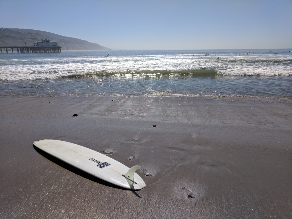 Waiting for the highest surf of the year at Surfrider Beach in Malibu.
