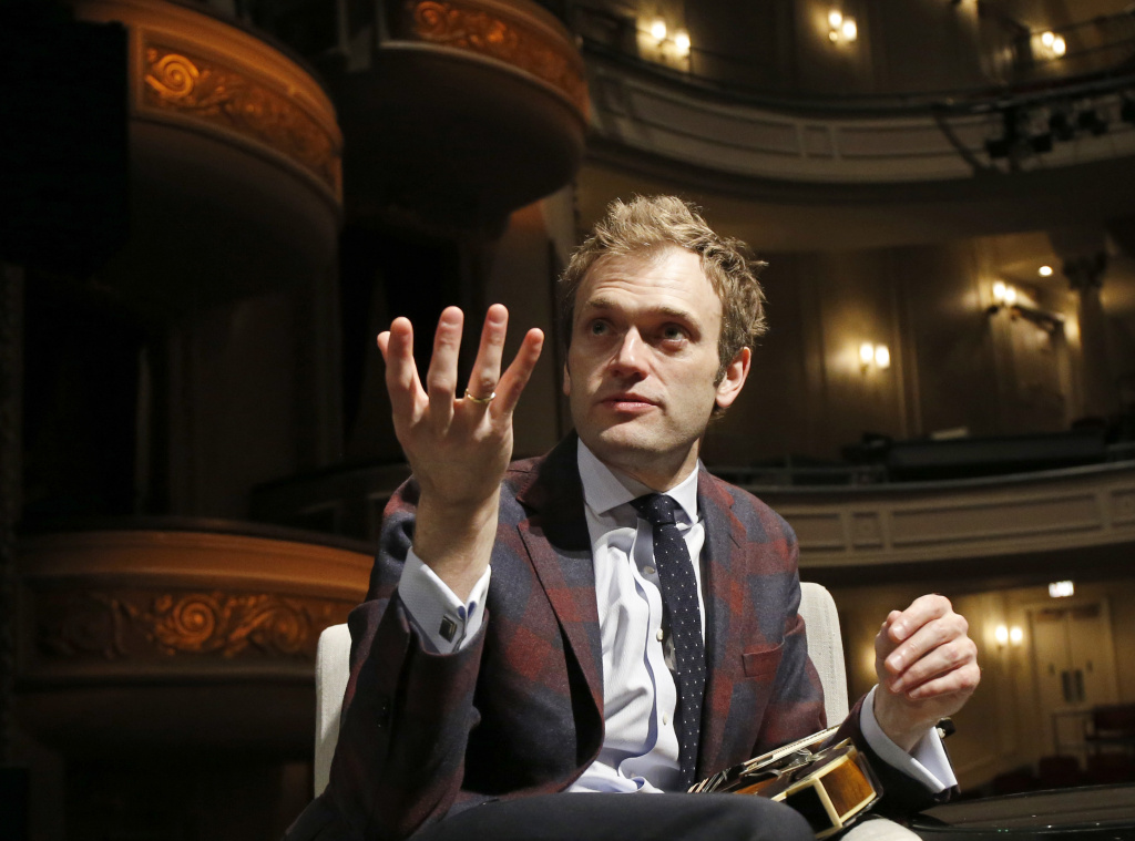 Chris Thile responds to a question during an interview in the Fitzgerald Theater in St. Paul, Minnesota, on April 5, 2016.