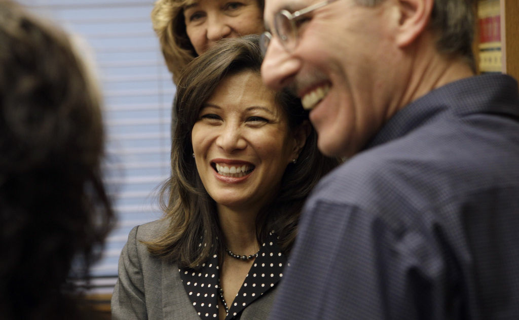 California Supreme Court Chief Justice Tani Cantil-Sakauye speaks to reporters after a news conference in San Francisco.