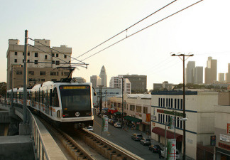 A Metro train nearing downtown Los Angeles, California.