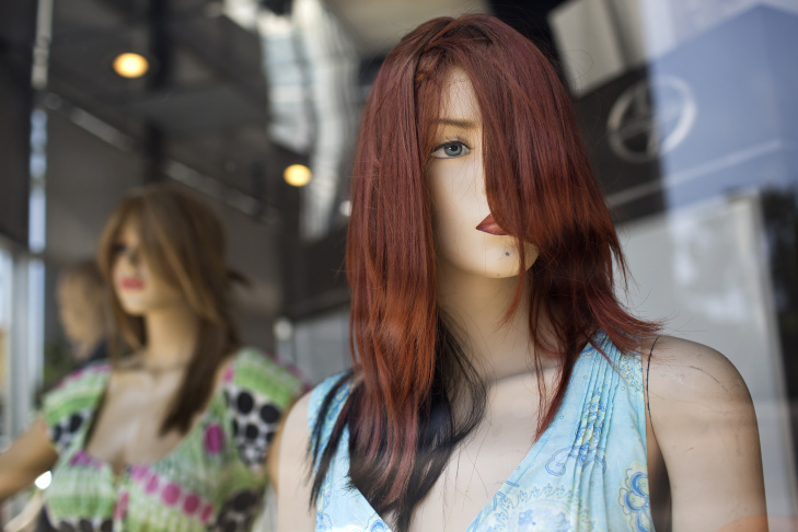 Mannequins greet drivers from the car garage at North Hollywood Toyota. The dealership has come to be known for the mannequins along Lankershim Boulevard.