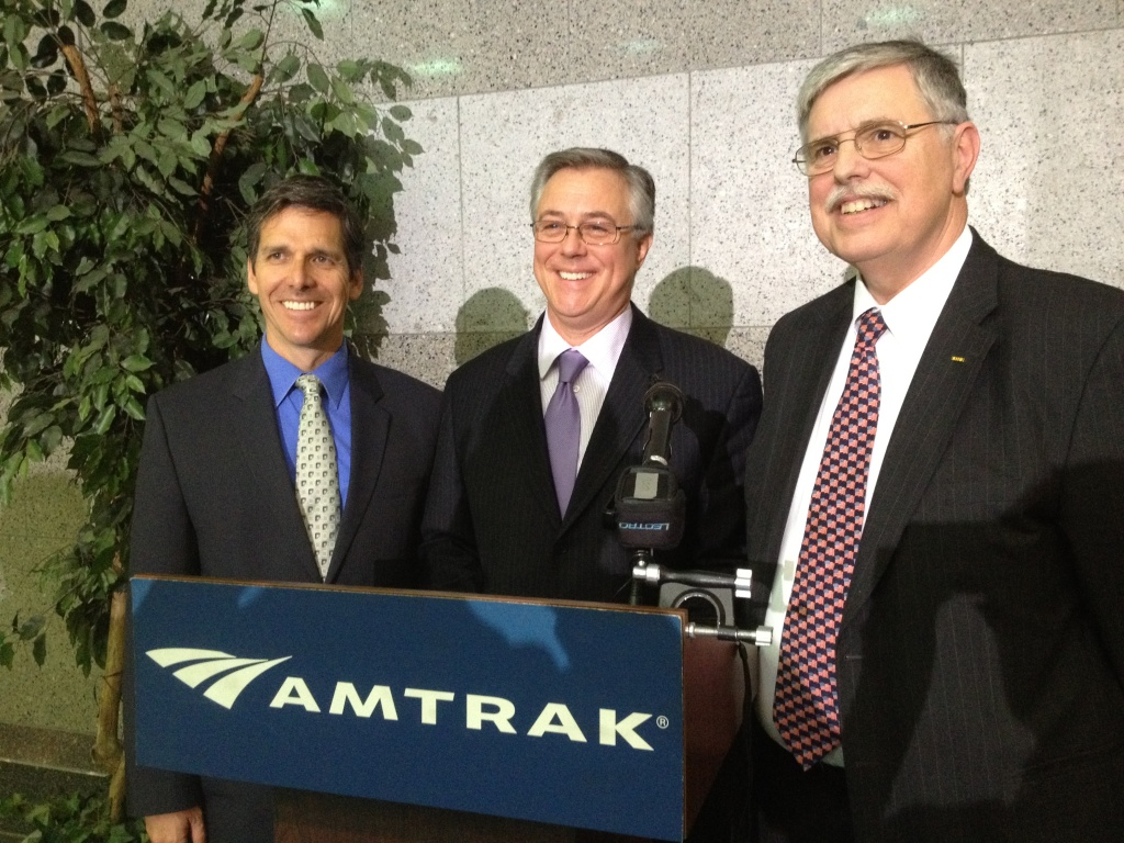 FILE: California High Speed Rail Authority CEO Jeff Morales, Federal Railroad Administrator Joseph Szabo, and Amtrak President Joe Boardman. (L-R) Photo credit: Kitty Felde/KPCC
