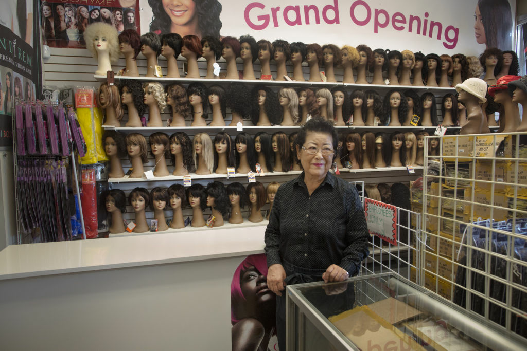 Min Cha Park owns Toto beauty supply shop and is concerned that the incoming Walmart will undercut her revenues from hair products and chemicals.