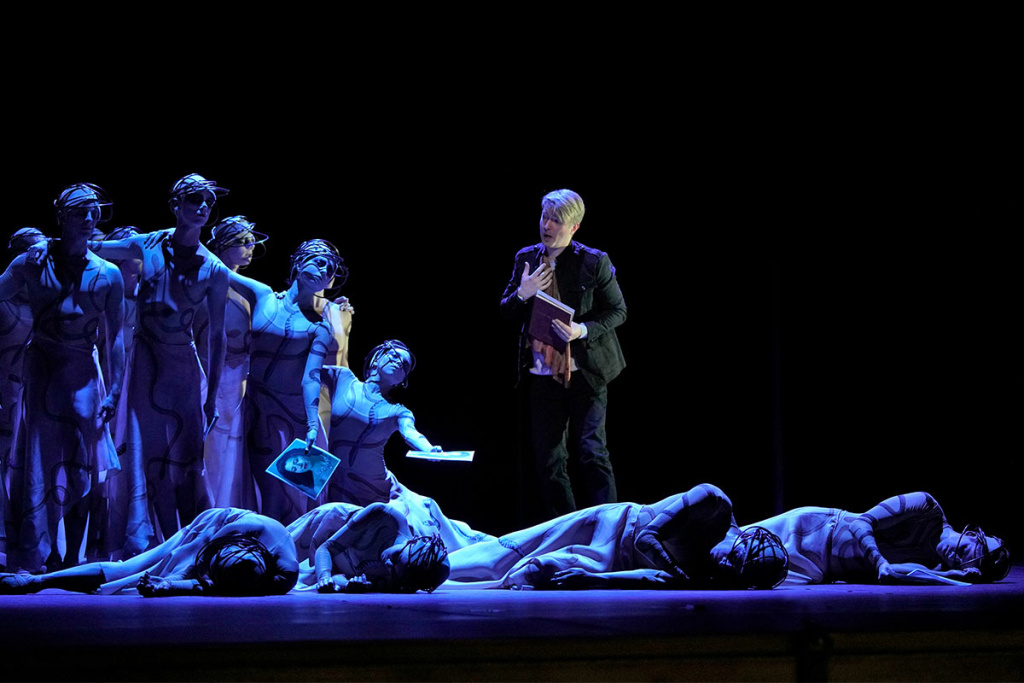 Maxim Mironov as Orpheus, with dancers from the Joffrey Ballet, in LA Opera's 2018 production of