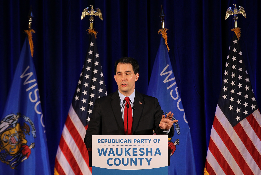 Wisconsin Gov. Scott Walker speaks during the Waukesha County GOP Lincoln Day dinner at the Country Springs Hotel on March 31, 2012 in Pewaukee, Wisconsin.