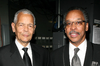 NAACP Chairman Julian Bond (L) and NAACP President Bruce Gordon backstage during the 38th annual NAACP Image Awards held at the Shrine Auditorium on March 2, 2007 in Los Angeles, California.