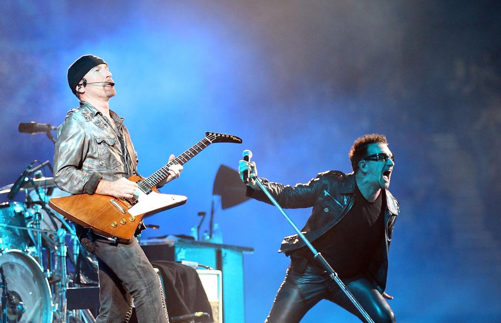 Bono and The Edge of U2 perform on stage at Etihad Stadium on Dec. 1, 2010 in Melbourne, Australia.