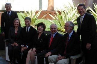 Assembled dignitaries at LACMA's Resnick Pavilion, including LACMA's Michael Govan, Lynda and Stewart Resnick, architect Renzo Piano, and LA County Supervisor Zev Yaroslavsky. Thursday, Sept. 23, 2010.