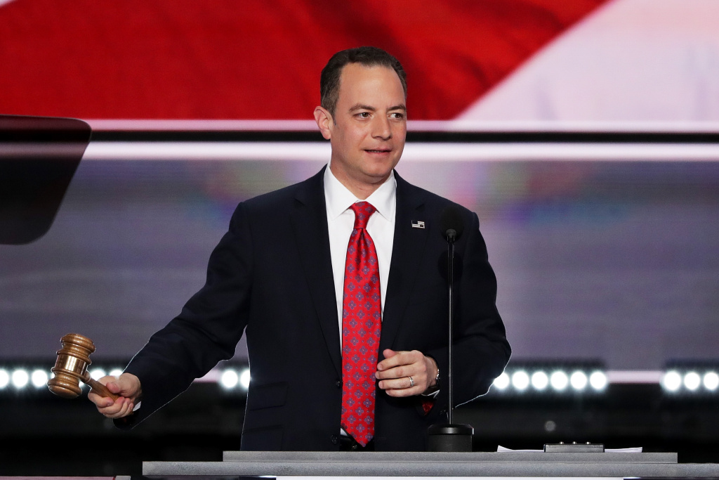 Reince Priebus, chairman of the Republican National Committee, bangs the gavel to officially the open the first day of the Republican National Convention on July 18, 2016 at the Quicken Loans Arena in Cleveland, Ohio.