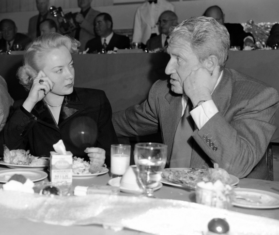 Pictured here are Audrey Totter and Spencer Tracy at a studio luncheon in Hollywood, Feb. 10, 1949.