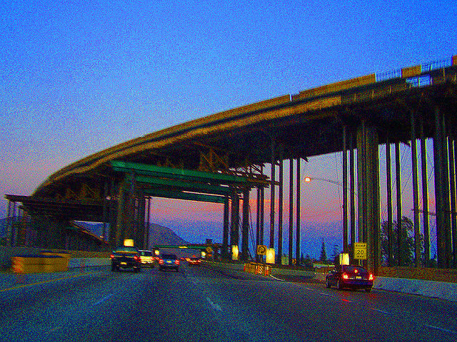 File: The 60/91/215 interchage in Riverside, California.