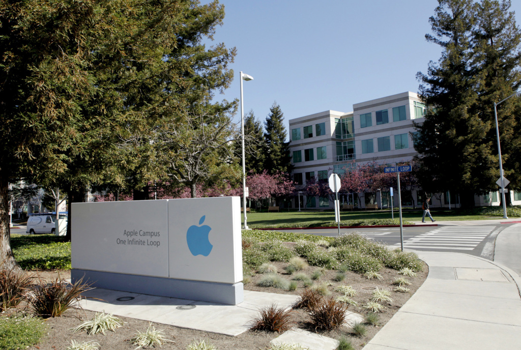 A view of the main entrance to Apple Inc. in Cupertino, California on March 11, 2011.