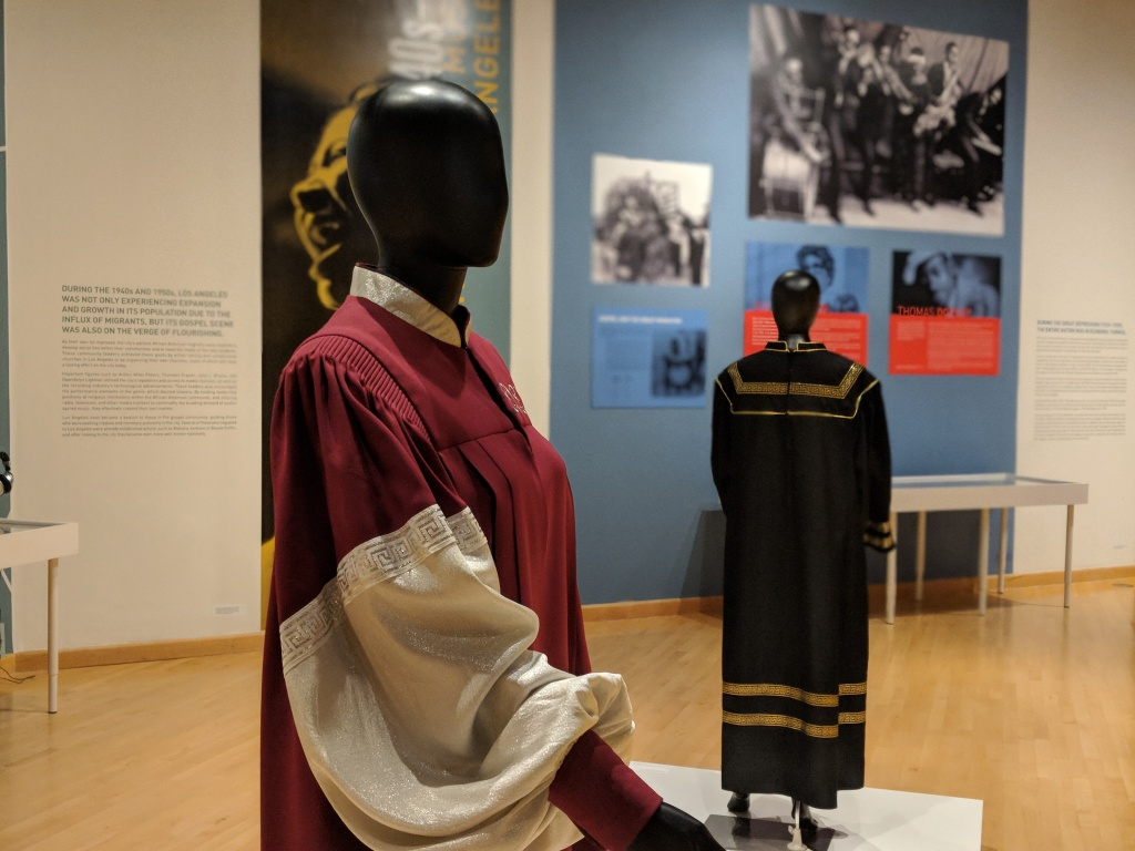 Traditional gospel choir robes on display at the exhibit,
