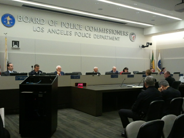 The LAPD Police Commissioners Board hears a report from the Inspector General about officer-involved shootings and assaults on officers. July 2012.