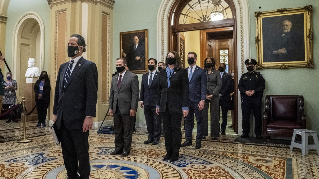 House impeachment managers, led by Rep. Jamie Raskin, D-Md., seen leaving the Senate floor after delivering the article of impeachment on Capitol Hill on Jan. 25. They will deliver the case against former President Trump starting Tuesday.