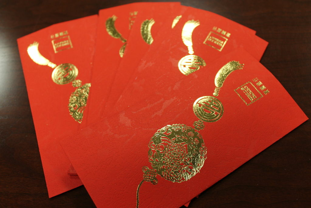 Wells Fargo provides these red envelopes for its customers during the Lunar New Year.