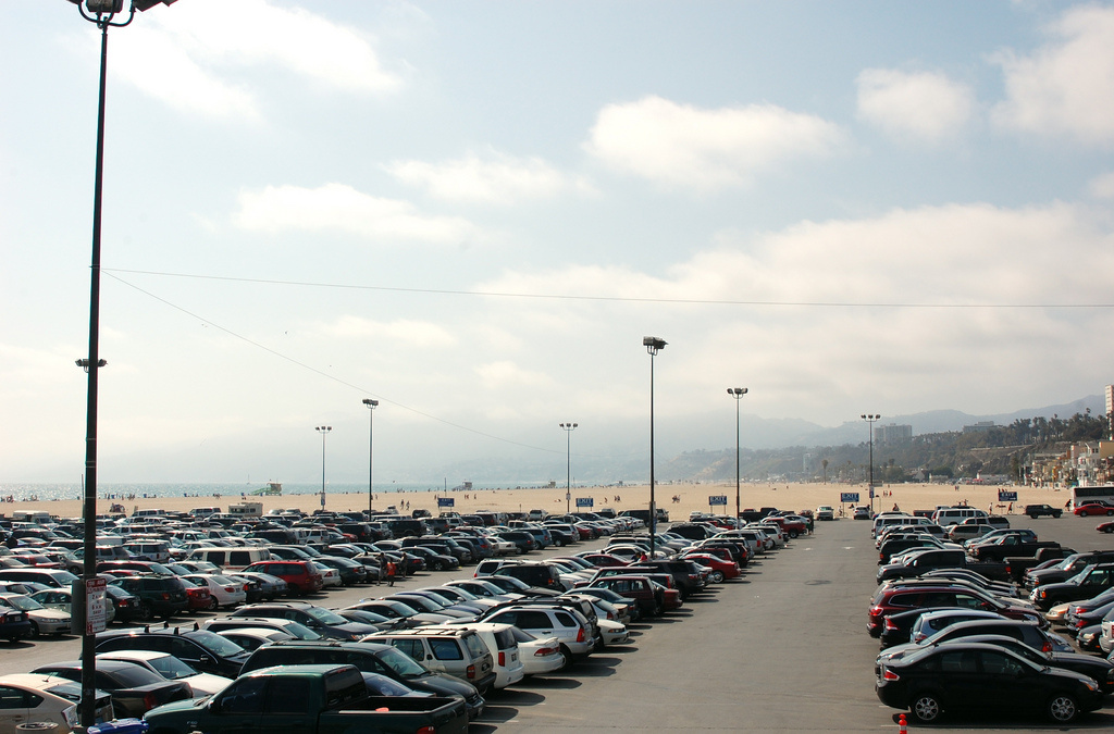 Parking lot on the beach in Los Angeles, Calif.