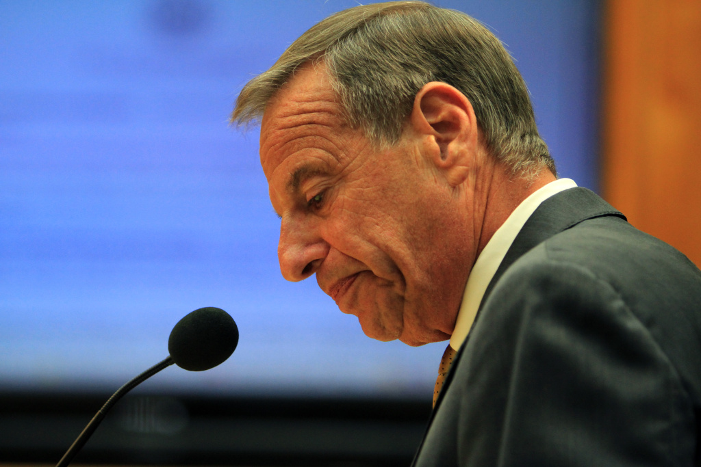 San Diego Mayor Bob Filner announces his mayoral resignation to the city council on August 23, 2013  in San Diego, California. Mayor Filner had recently been accused of making unwanted sexual unwanted sexual advances by several female alleged victims.