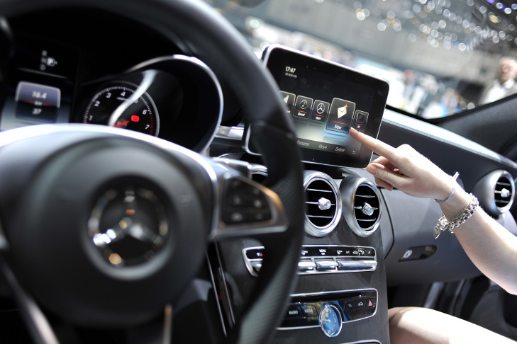 An Apple CarPlay screen seen in a car during the press day of the 84th International Motor Show on March 5, 2014 in Geneva, Switzerland.