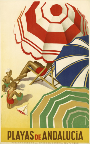 LAPL: Selected travel posters of exotic destinations are from the collection housed in the International Languages Department and Rare Books at Central Library. The artwork finely demonstrates the sensibilities of 1920s and 1930s Art Deco and early Futurism.