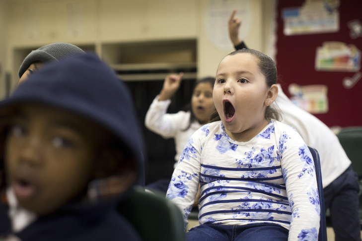 First-graders Valeria Beltran, left, and Jarret Moore take part in a music class at Martin Luther King Jr. Elementary School in Compton on Friday, Dec. 5, 2014. The class is supported by Turnaround Arts, a national program that brings arts education to high-poverty elementary and middle schools.