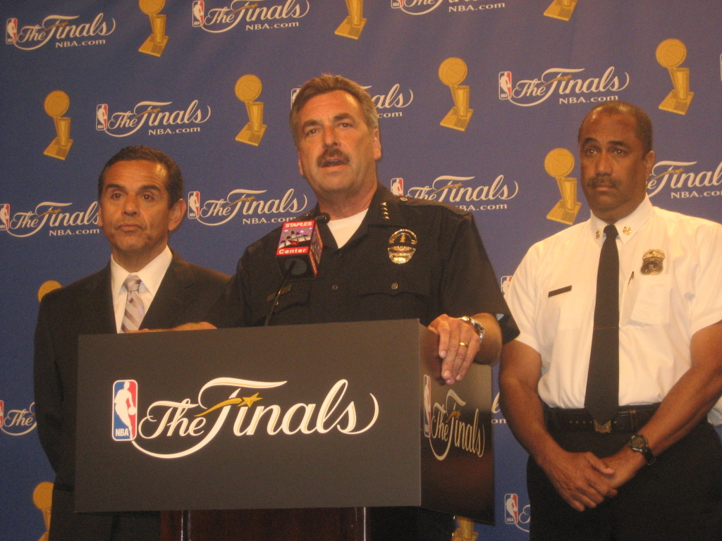 Los Angeles Mayor Antonio Villaraigosa, Police Chief Charlie Beck, and Fire Chief Millage Peaks at a Staples Center press conference announcing the city's preparations in advance of Game 7 of the NBA Finals.