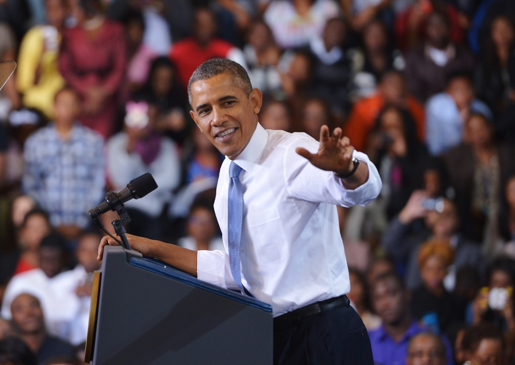 President Barack Obama speaks about the Affordable Care Act at Prince Georges Community College on September 26, 2013 in Largo, Maryland.