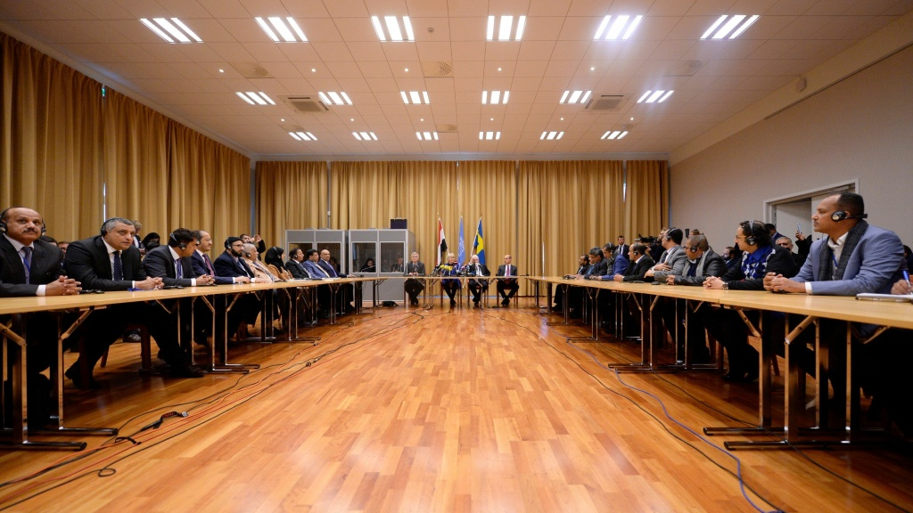 Swedish and U.N. officials, as well as delegates of Yemen's government and the Houthi rebels, attend the opening press conference of the Yemeni peace talks at Johannesberg castle in Rimbo, Sweden, on Thursday.