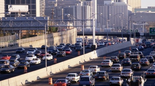 Rush hour traffic in downtown Atlanta, Georgia.