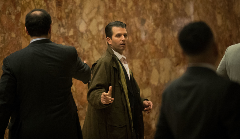 Donald Trump Jr., seen in the Trump Tower lobby in November 2016, met with a Russian lawyer after being promised damaging information about Hillary Clinton in June 2016.
