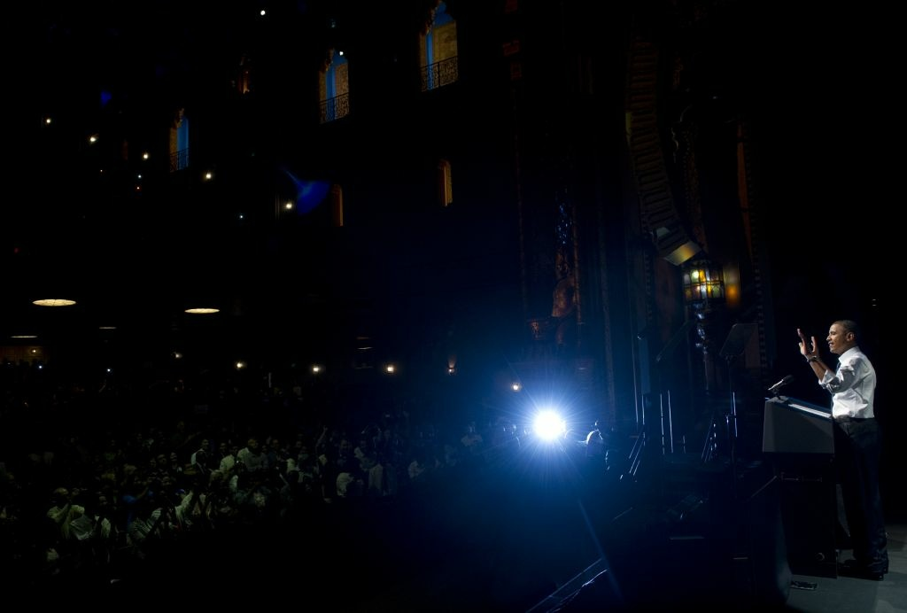 US President Barack Obama speaks during a campaign event at the Fox Theatre in Oakland, California, on July 23, 2012. Dozens rallied outside, asking him to freeze the government crackdown on pot shops.