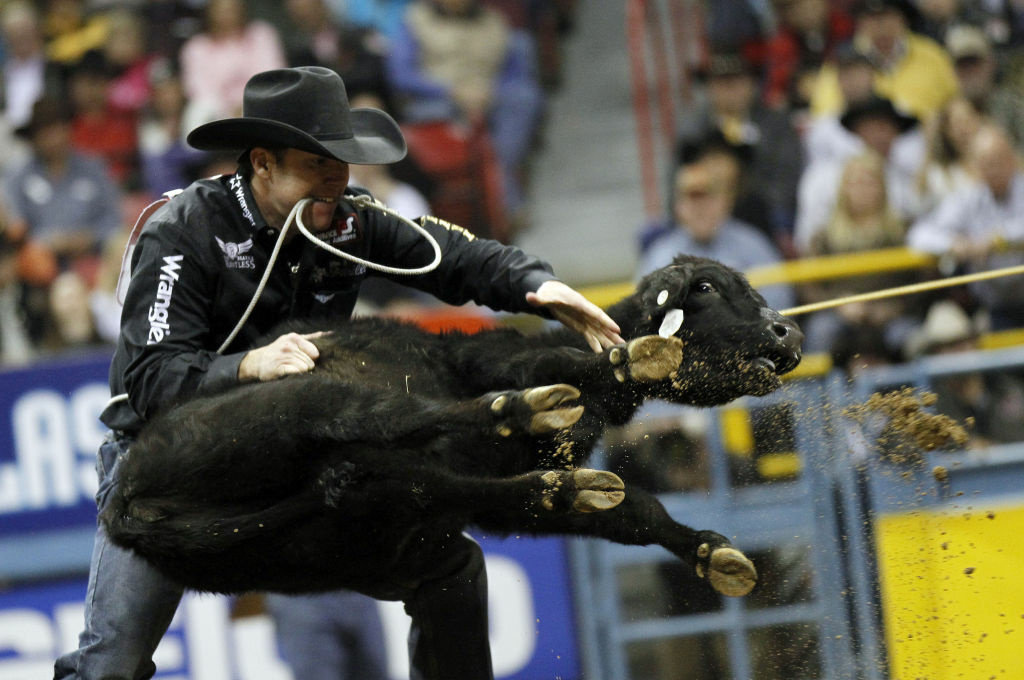 Trevor Brazile competes in the tie-down roping event during the tenth and final go-round of the National Finals Rodeo Saturday, Dec. 10, 2011, in Las Vegas. Brazile won the all-around world championship.