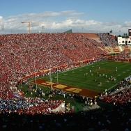 LOS ANGELES, CA - DECEMBER 01:  General view as the UCLA Bruins kick off to the USC Trojans to start the college football game at the Los Angeles Memorial Coliseum on December 1, 2007 in Los Angeles, California. The Trojans defeated the Bruins 24-7.  (Photo by Christian Petersen/Getty Images)