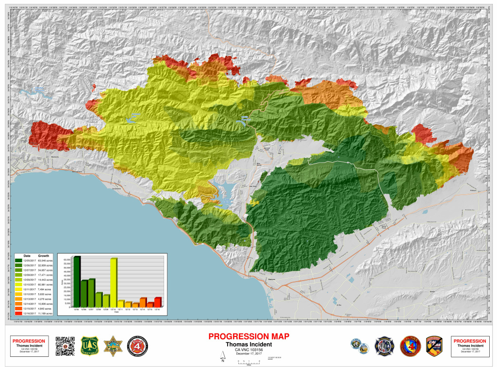 A map of the Thomas Fire's progression from early Sunday, Dec. 17, 2017.