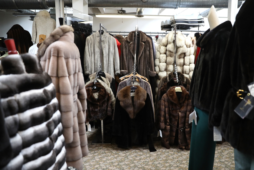 Used fur coats are displayed at B.B. Hawk on March 21, 2018 in San Francisco, California.