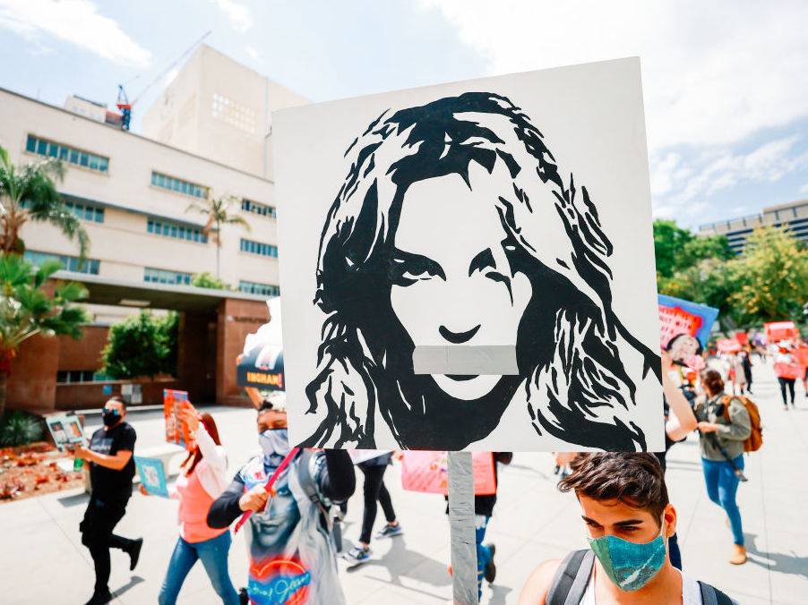 #FreeBritney activists protest outside the Los Angeles Superior Court during one of Britney Spears' hearings this April.