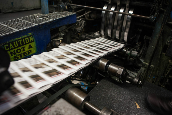 Copies of the OC Register slide through the presses. The Register is the country's 20th most-read daily, with a circulation of about 285,000.