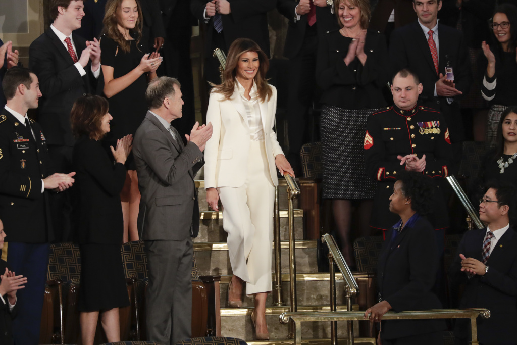 First lady Melania Trump arrives before the State of the Union address Tuesday.