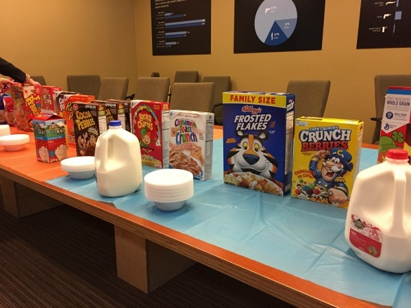 KPCC's Breakfast Social cereal spread. (KPCC)