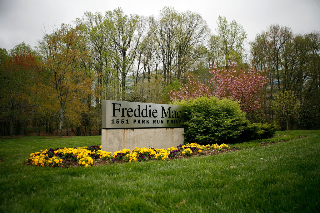 The sign of Freddie Mac sits in front of its headquarters in 2009 in McLean, Va.