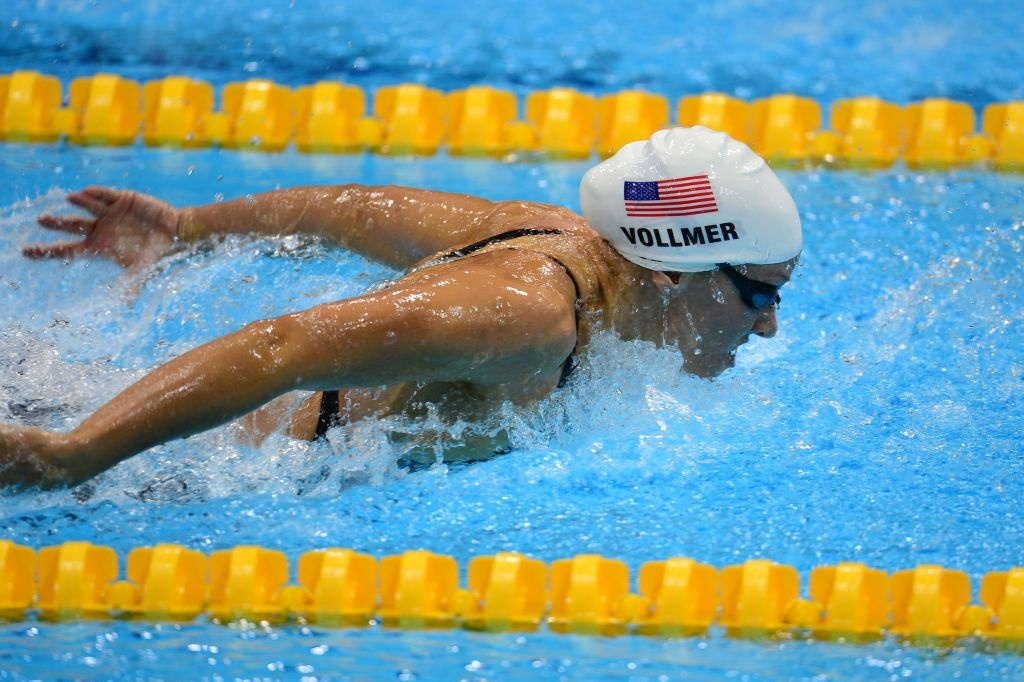 U.S. swimmer Dana Vollmer competes in the women's 100m butterfly heats swimming event at the London 2012 Olympic Games on July 28, 2012 in London.