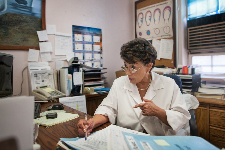 Dr. Corazon Navarro in her office at the California Institution for Women. She is the only full-time obstetrician/gynecologist assigned to the health clinic.