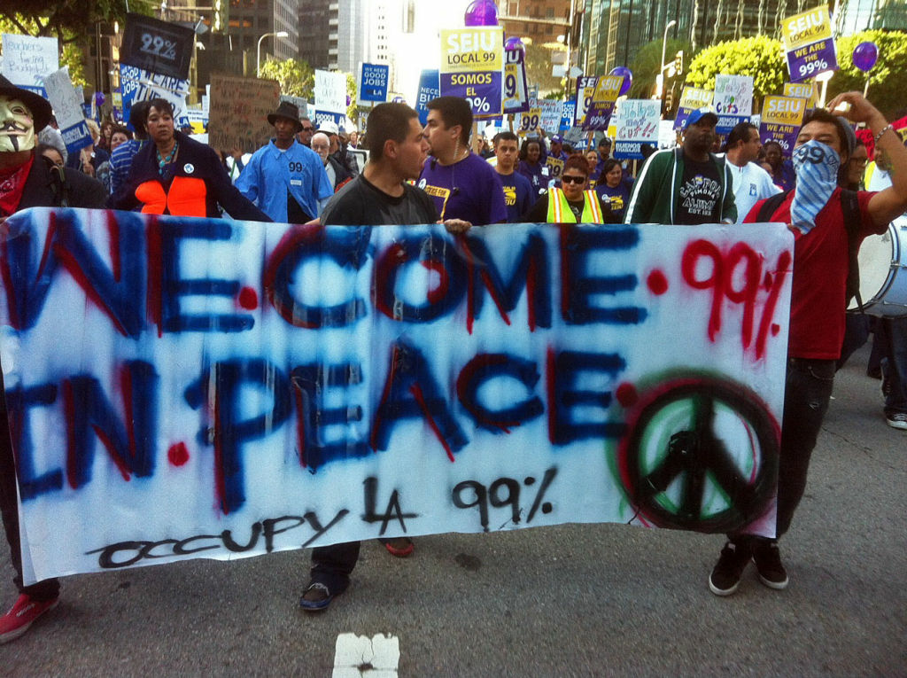 Hundreds of Occupy protesters gathered downtown L.A. for a march through the financial district.