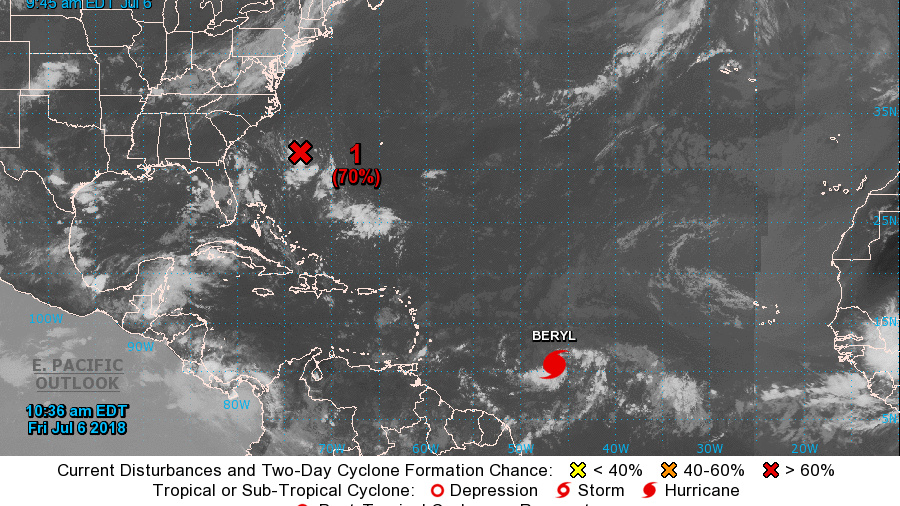 Beryl, the first Atlantic hurricane of the 2018 season, was headed for the Lesser Antilles, where it was expected to make landfall by Monday.