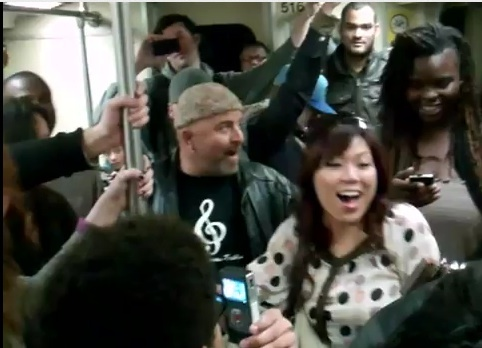 Screenshot: The Love Project launches a Lil Wayne sing-along on a Los Angeles subway.