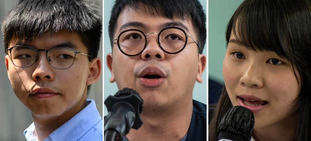 File photos shows Hong Kong pro-democracy activist Joshua Wong, left, activist Ivan Lam (center) and then-student activist Agnes Chow. The three were sentenced in Hong Kong on Wednesday for their roles in leading last year's anti-government protests.